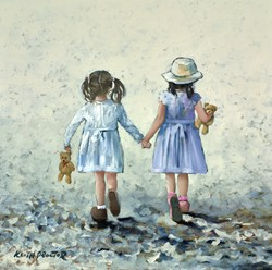 Girls Day Out by Keith Proctor - Original Painting on Stretched Canvas sized 24x24 inches. Available from Whitewall Galleries